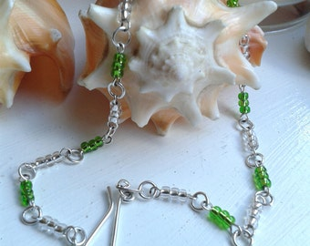 Sterling Silver and Green Glass Bead Anklet Handmade
