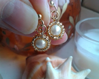 Gold Plated Faux Cream Pearl Drop Post Stud Earrings