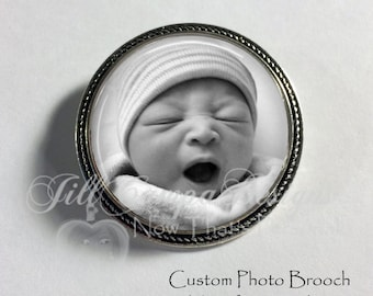 Photo Brooch - Your favorite photo on a brooch - Silver brooch - custom photo badge - photo jewelry - personalized brooch - new baby