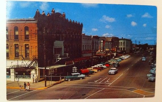 Vintage Texas Postcard Bonham Tx Downtown 1960