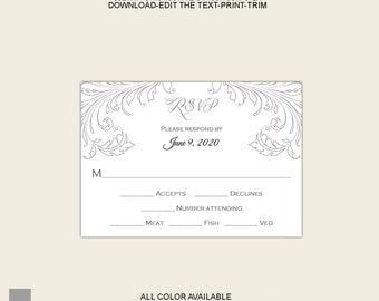 printable wedding rsvp templates .