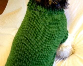 Sporty Solid Color Knit Dog Sweater - Custom-knit  for your dog in your choice of color