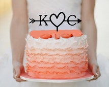 Initials Heart and Arrow Cake topper
