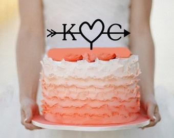 Initials Wedding Arrow Cake topper