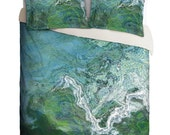 Duvet Cover with abstract art, king duvet cover or queen duvet cover in green and blue, contemporary bedroom decor, Rising