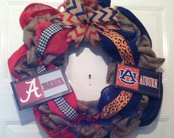 Alabama Crimson Tide - Auburn Tigers - House Divided - Roll Tide - War Eagles - SEC - Nick Saban- House Divided Wreath - Front Door Decor