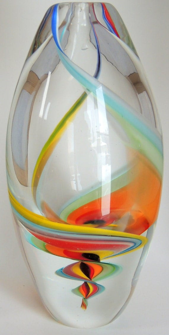 Vintage Murano Italian Art Glass Marble Art Swirl Spiral