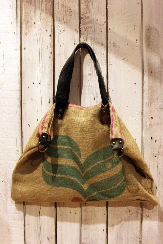 Borse Di Stoffa A Sacco : Coffee bag borsa in juta da caff? e pelle vintage made