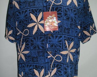 Fantastic AVANTI  Hawaiian Silk Shirt ,Elvis Presley '' blue Hawaii'',Design Abstract Flowers made in China,Mint Condition,Dead Stock,Sz  L