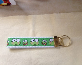 Keroppi ( Hello Kitty ) wristlet key fob holder keychain