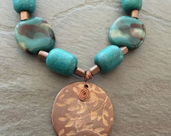 Copper and Bronze Metal Clay Pendant with Kazuri Beads