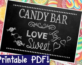 Candy Bar Chalkboard Sign - DIY - PRINTABLE - Instant Download, Print, Party - Paper Props Chalk Board signs - wedding, engagement or party