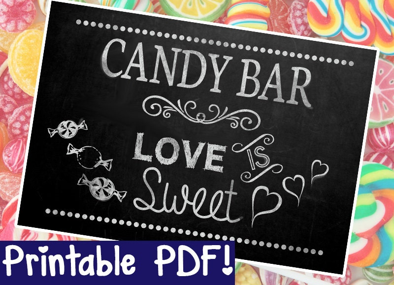 Candy Bar Chalkboard Sign DIY PRINTABLE Instant