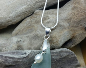 Handmade Sea Glass and Freshwater Pearl Necklace