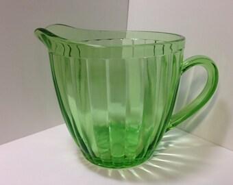 Jeanette Glass 30 oz Sunflower Pitcher, Green Glass Pitcher, Juice Pitcher, 1930s Kitchen, Retro Glassware