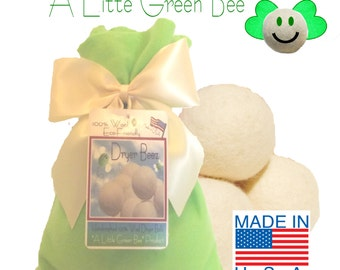 Wool Dryer Balls Eco Friendly  gift set of 3  Natural Unscented w/ Green gift bag Premiun USA wool ball needle-felted