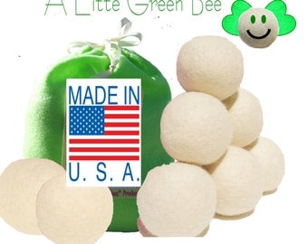 Wool Dryer Balls Large  Natural Unscented Gift Set of 8 with  FREE felt bag for Green Living- Premiun USA 100% wool fleece needle-felted