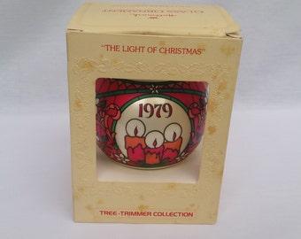 """1979 Hallmark """"The Light Of Christmas"""" Vintage Glass Christmas Ornament"""