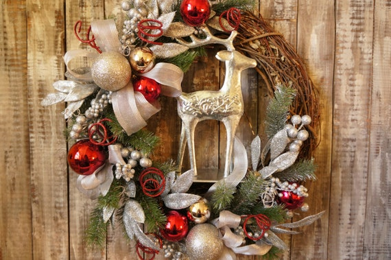 Large Wreath Reindeer Christmas Wreath - Elegant Reindeer Wreaths - Silver Ornament Wreath - Grapevine Christmas Wreath Christmas Decor