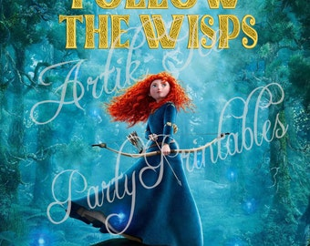 Brave Merida Birthday Party Set  - Cupcake Toppers, Gift Tags, Game - Instant Download Princess Themed SALE!!