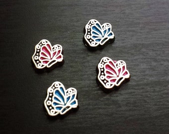 Butterfly Floating Charm for Floating Lockets-Pink or Blue-Gift Idea