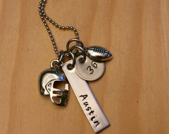 Hand Stamped Necklace - Football Necklace - Football Mom Necklace - Personalized Football Necklace