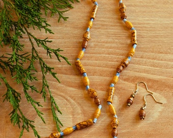 Handmade Earth Friendly Paper Bead Necklace and Earring Set in Natural Tones with Accents of Blue