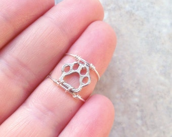 Paw Print Ring, Sterling Silver Ring, Animal Lover, Ring, Knuckle, Statement, Dog, Kids, Help Animals, Animal Jewelry, Puppy, Wire Ring