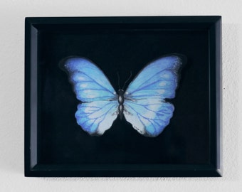 Capturing Beauty - A shadowbox with handmade butterfly using watercolor, colored pencils, marker and pins.