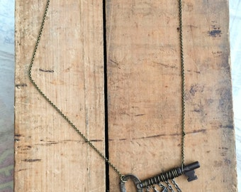 Always Prepared - Skeleton Key with Clock Gears, Boy Scout Eagle, & Bullet Casing, Necklace - Repurposed Found Objects Necklace