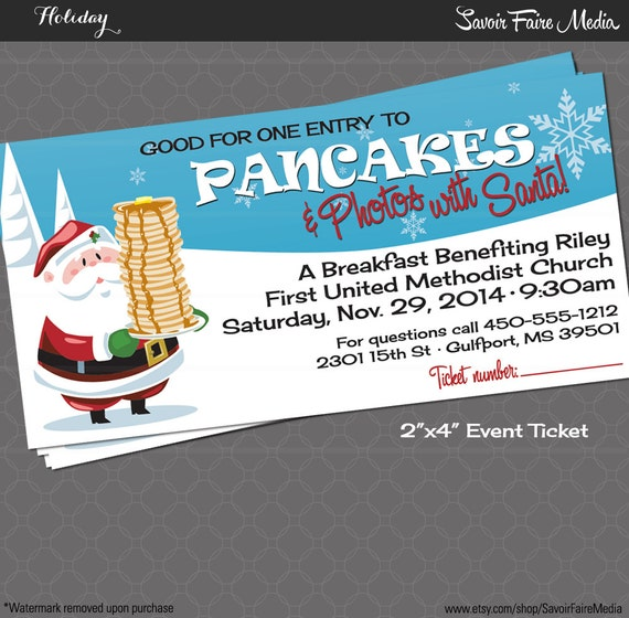 Christmas Party Ticket Template Free: Pancake Breakfast With Santa Event Ticket / Holiday Photos