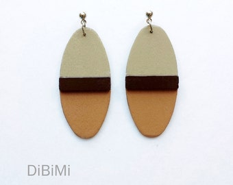 modern dangle earrings - geometric wood earrings in brown and sand - minimalist, contemporary jewelry