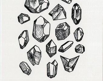 Crystals letterpress print
