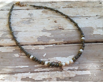 Women Necklace Pearls & Brass Beaded Necklace Bohochic Jewelry