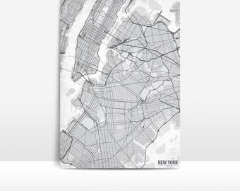 New York City, Sate of New York, Map Art Print on Heavy Weight Textured Fine Art Paper- Giclee Fine Art Print