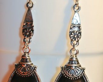 SALE NOW 15% OFF Black and Silver Dangling Earrings