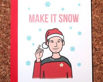 Star Trek Christmas Card / Make it snow Picard / Christmas card