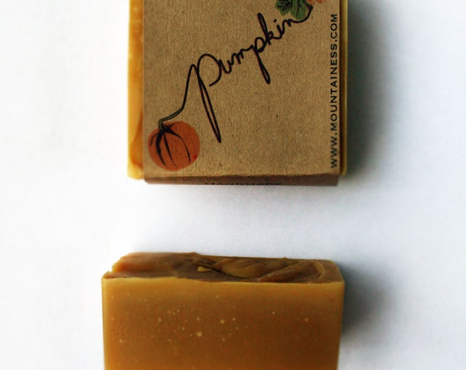 Featured listing image: Pumpkin soap / fall gift / organic pumpkin soap / orange fall / orange pumpkin / small gift / pumpkin puree / organic fall orange soap gift