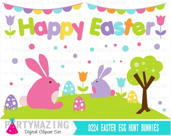Easter Egg Hunt ClipArt Set, Bunny Egg Hunt,  Instant Download D224