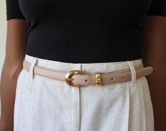 Light Pink Leather Belt with Gold Buckle - Vintage