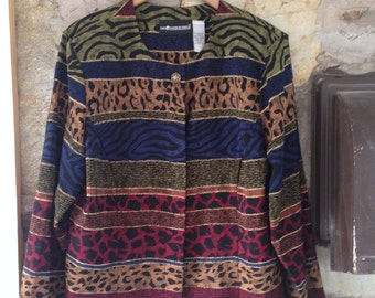 Mixed Bright Animal Print 80's Graphic Blouse