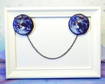 earth brooch  ,  earth jewelry ,  sweater clip , collar chain , collar tip , sweater guard , sweater clip , cardigan chain , earth jewelry