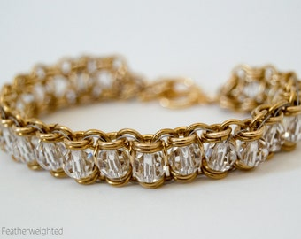 Gold and crystal channel bracelet | handmade jewelry for charity.