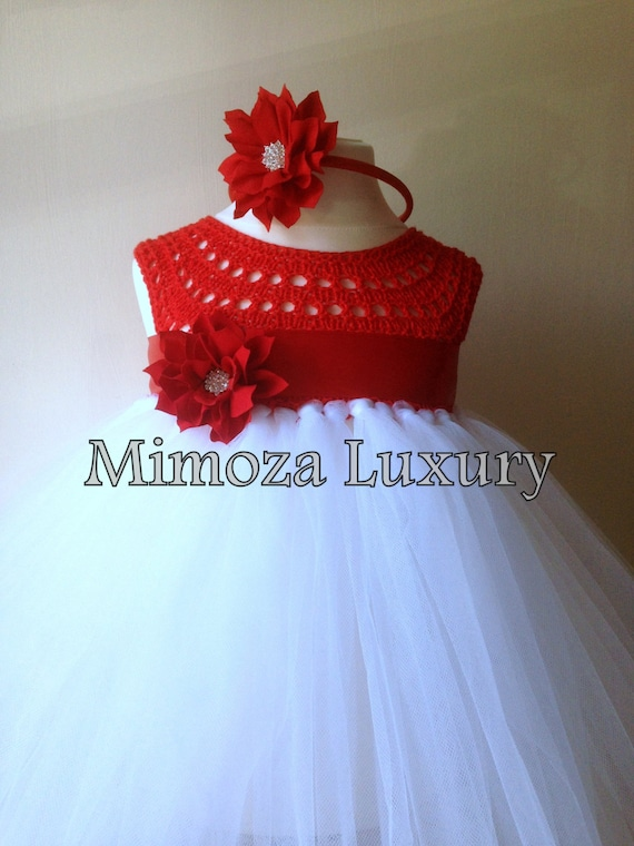 Flower girl dress, Christmas tutu dress, crochet tutu dress, bridesmaid dress, princess dress, silk crochet top tulle dress, hand knit silk