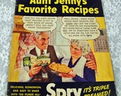 "Hey Cookbook Collectors! Producer's Cookbook - 1940s or 1950s ""Aunt Jenny's Favorite Recipes"""