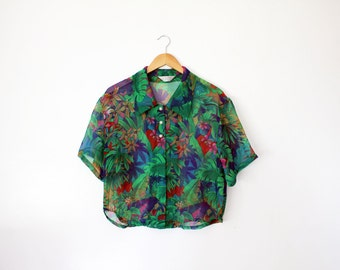 Green Sheer Tropical Floral Print Cropped Blouse