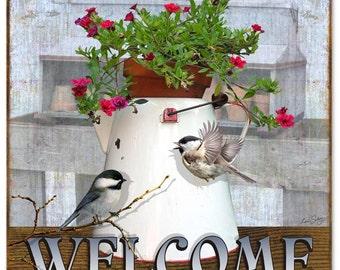 "Bird Welcome Sign 12""x12"" RG4448"