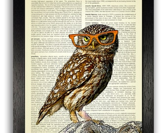 Owl in orange glasses - vintage dictionary art, Owl Artwork, Animal Wall Decor, Owl dictionary print, Kids bedroom poster, Anniversary gift