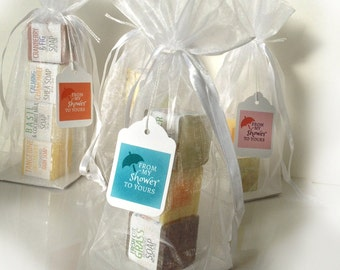 Baby Shower Favors - 3 Soaps in a Gift Bag - 5.00 each - Unique Party Favors for baby boy or baby girl - White Mesh Gift Bag with a Tag