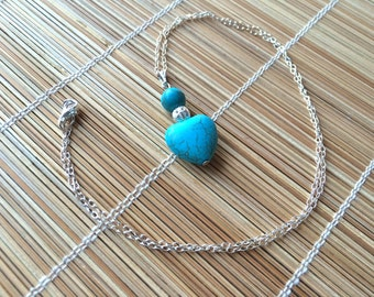 Beautiful Blue Turquoise Heart and Bead Pendant Necklace on Sterling Silver Chain - December Birthstone